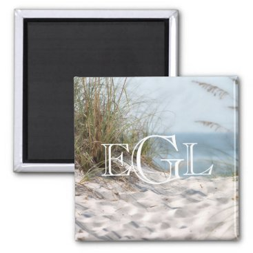 Beach Themed Beach Sand Dunes Monogram Nautical Personalized Magnet
