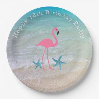 Beach Sand Flamingo Birthday Party Plates