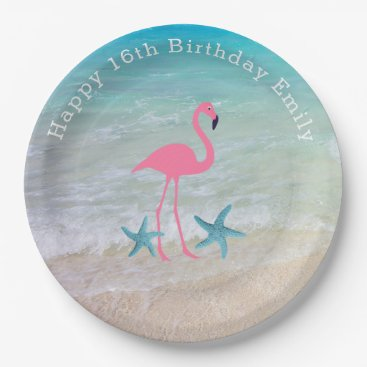 Beach Themed Beach Sand Flamingo Birthday Party Plates