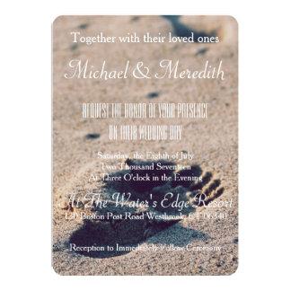 Beach Sand Footprint Wedding Invitation