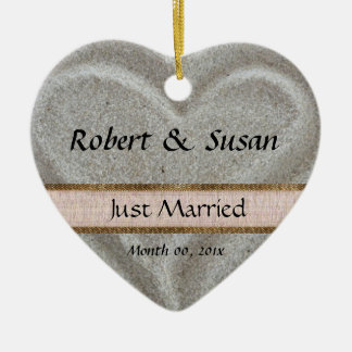 Beach Sand Heart Shaped Wedding Favor Ceramic Ornament