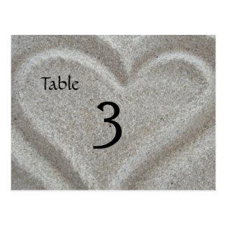 Beach Sand Heart Table Number Card