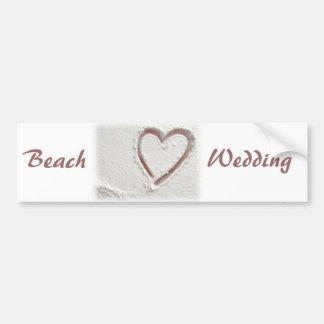 Beach Sand Heart Wedding Bumper Sticker