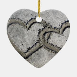 Beach Sand Hearts Ceramic Ornament
