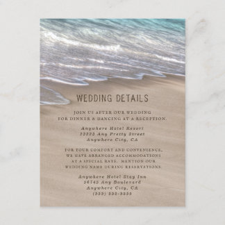 Beach Sand Hearts Elegant Tropical Modern Wedding Enclosure Card