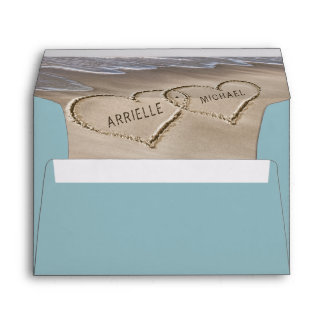 Beach Sand Hearts Elegant Tropical Modern Wedding Envelope