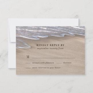 Beach Sand Hearts Elegant Tropical Modern Wedding RSVP Card