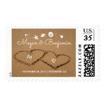Beach Sand Hearts Romantic Summer Wedding Postage