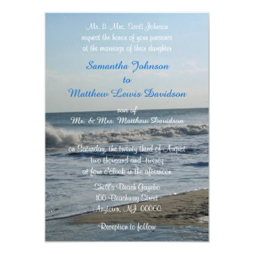Beach Themed Beach Sand Love Wedding Destination Monogrammed Card
