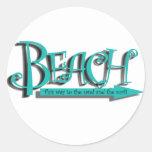 Beach sand-n-surf round stickers