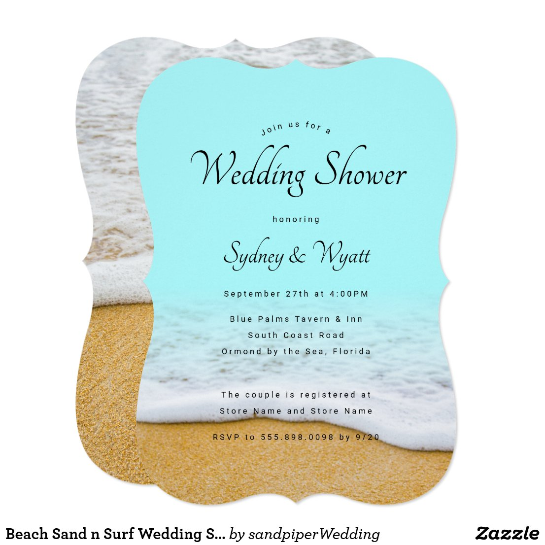 Beach Sand n Surf Wedding Shower Invitations