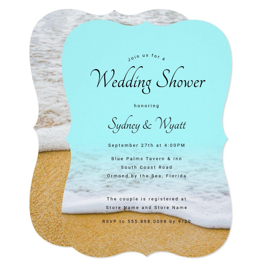 Beach Sand n Surf Wedding Shower Invitations