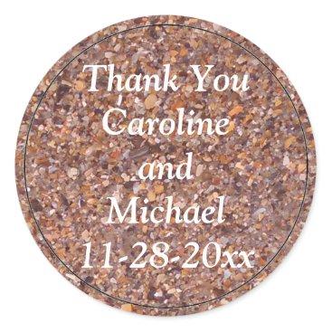 Bride Themed Beach Sand Pebbles Shells Thank You Wedding Favor Classic Round Sticker