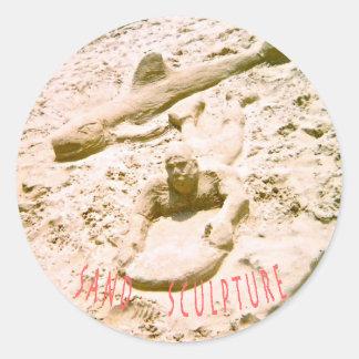 Beach Sand Sculpture Classic Round Sticker