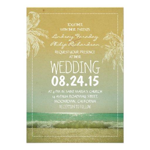 BEACH sand sea waves & palms wedding invitation