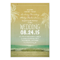 BEACH sand sea waves & palms wedding invitation