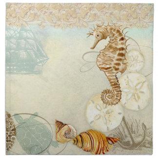 Beach Sand Seashore Collage Turtle Sea Horse Shell Cloth Napkin