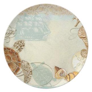 Beach Sand Seashore Collage Turtle Sea Horse Shell Dinner Plate
