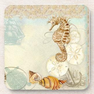 Beach Sand Seashore Collage Turtle Sea Horse Shell Drink Coaster