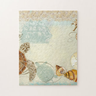 Beach Sand Seashore Collage Turtle Sea Horse Shell Jigsaw Puzzle