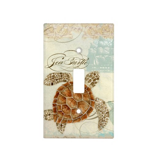 Beach Sand Seashore Collage Turtle Sea Horse Shell Light