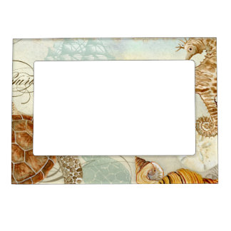 Beach Sand Seashore Collage Turtle Sea Horse Shell Magnetic Photo Frame