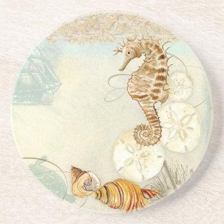 Beach Sand Seashore Collage Turtle Sea Horse Shell Sandstone Coaster