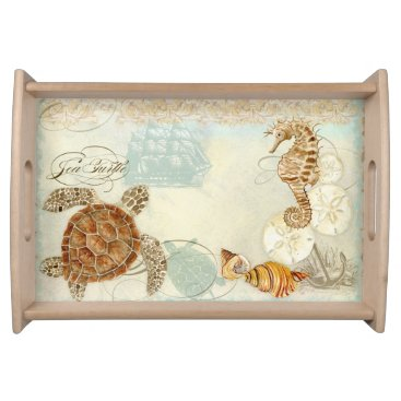 Beach Themed Beach Sand Seashore Collage Turtle Sea Horse Shell Serving Tray