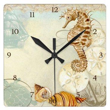 Beach Themed Beach Sand Seashore Collage Turtle Sea Horse Shell Square Wall Clock