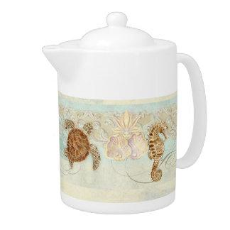 Beach Sand Seashore Collage Turtle Sea Horse Shell Teapot