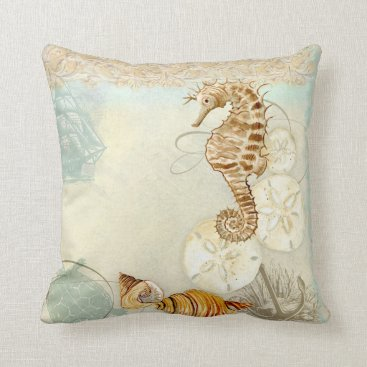 Beach Themed Beach Sand Seashore Collage Turtle Sea Horse Shell Throw Pillow