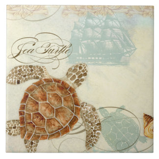 Beach Sand Seashore Collage Turtle Sea Horse Shell Tile