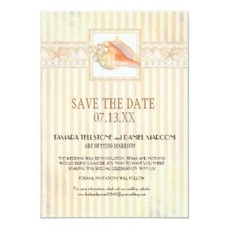 Beach Sand Stripe Conch Shell Elegant Weddings Art Card