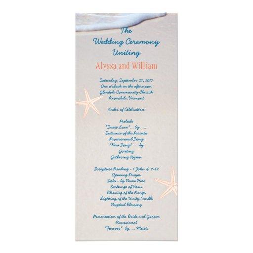 Beach Sand Tall Wedding Program Templates Zazzle