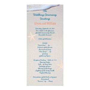 Beach Sand Tall Wedding Program Templates Personalized Rack Card