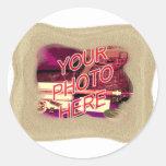 Beach Sand Template Frame Classic Round Sticker