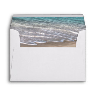 Beach Sand Themed Elegant Tropical Modern Wedding Envelope