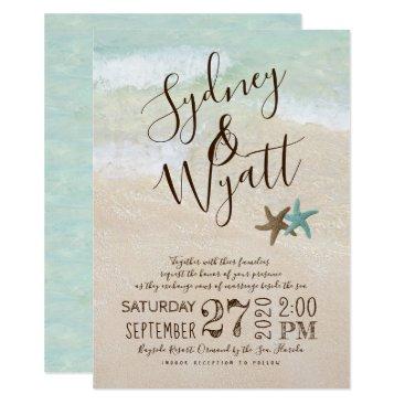 Beach Themed Beach Sand Typography Starfish Wedding Invitation