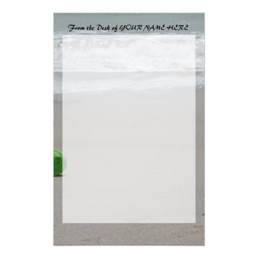 Beach, sand, waves, and green bucket stationery
