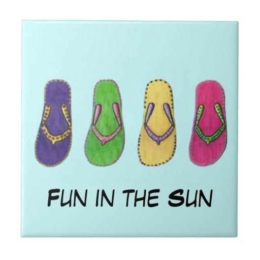 Beach Sandals Ceramic Tile