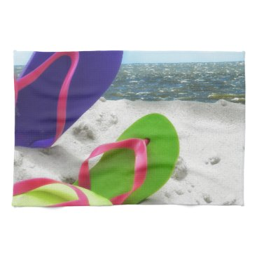 Beach Themed beach sandals hand towel