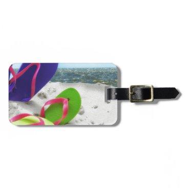 Beach Themed beach sandals luggage tag