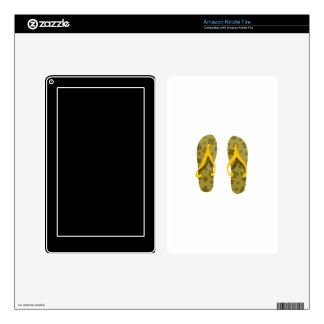 beach sandals olive yellow pattern.png skin for kindle fire