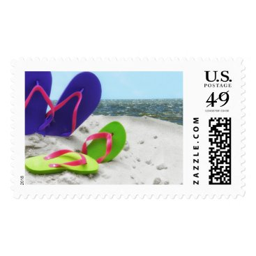 Beach Themed beach sandals postage postal stamps