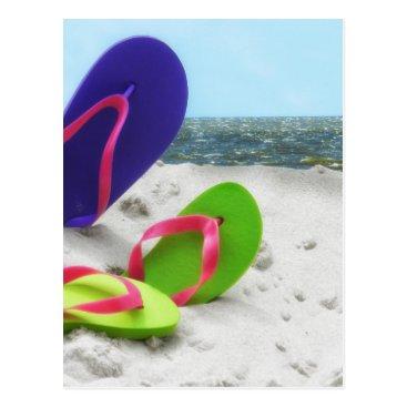 Beach Themed beach sandals postcard