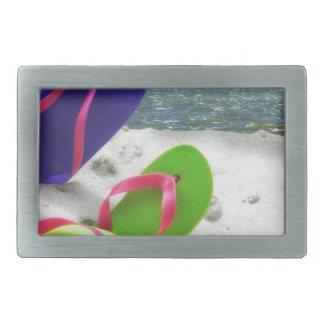 beach sandals rectangular belt buckle