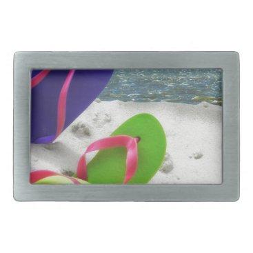 Beach Themed beach sandals rectangular belt buckle