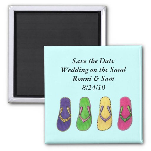 Beach Sandals Save the Date Wedding Magnet