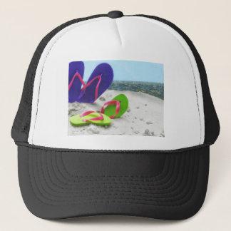 beach sandals trucker hat