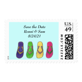 Beach Sandals Wedding Postage Stamps